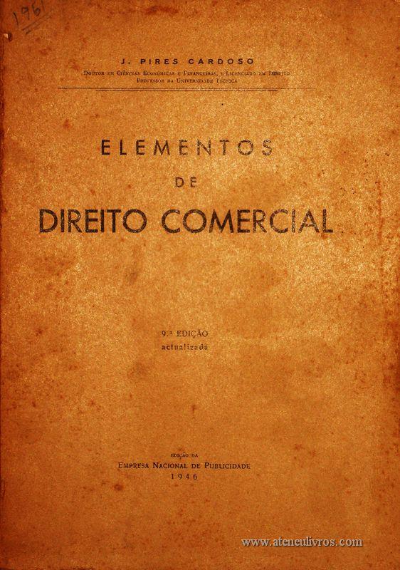 J.Pires Cardoso – Elementos de Direito Comercial «€20.00»