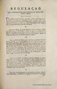 Regulação para os Embargos dos Transportes necessários aos Exércitos Portuguese e Ingleses….Palácio do Governo em 10 de Novembro 1809…/10 Págs. + 2 Tabelas. - «€70.00»