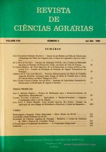 Revista de Ciências Agrárias - Volume XVII - Nº 3 – Jul. – Set.- 1994 - Publicação da Sociedade de Ciências Agrárias de Portugal - Lisboa - 1994. Desc. 144 pág. / 24 cm x 17 cm / Br. - «€10.00»