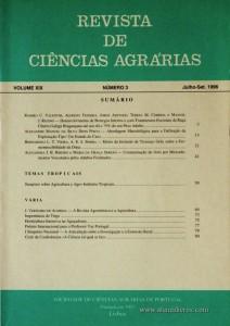 Revista de Ciências Agrárias - Volume XIX - Nº 3 – Jul. – Set.- 1996 - Publicação da Sociedade de Ciências Agrárias de Portugal - Lisboa - 1996. Desc. 81 pág. / 24 cm x 17 cm / Br. - «€10.00»