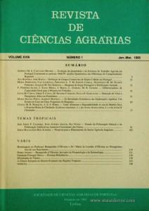 Revista de Ciências Agrárias - Volume XVIII - Nº 1 – Jan. – Mar.- 1995 - Publicação da Sociedade de Ciências Agrárias de Portugal - Lisboa - 1995. Desc. 146 pág. / 24 cm x 17 cm / Br. - «€10.00»