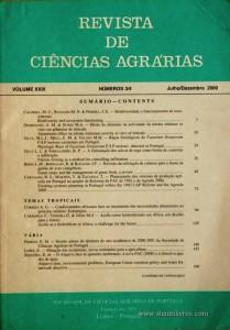 Revista de Ciências Agrárias - Volume XXIII - Nº 3/4 – Julho/Dezembro - 2000 - Publicação da Sociedade de Ciências Agrárias de Portugal - Lisboa - 2000. Desc. 251 pág. / 24 cm x 17 cm / Br. - «€20.00»