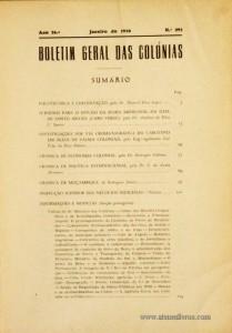 Boletim Geral das Colónias – Ano 26.ª – Janeiro de 1950 – N.º 295 – Agencia Geral das Colónias – Lisboa – 1950. Desc. 248 pág. / 22,5 cm x 16 cm / Br «€15,00»