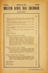 Boletim Geral das Colónias – Ano 20.ª – Outubro de 1944 – N.º 232 – Agencia Geral das Colónias – Lisboa – 1944. Desc. 274 pág. / 22,5 cm x 16 cm / Br «€15,00»