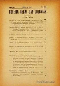 Boletim Geral das Colónias – Ano 23.ª – Maio de 1947 – N.º263 – Agencia Geral das Colónias – Lisboa – 1947. Desc. 162 pág. / 22,5 cm x 16 cm / Br «€12,50»