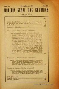 Boletim Geral das Colónias – Ano 19.ª – Novembro de 1943 – N.º221 – Agencia Geral das Colónias – Lisboa – 1943. Desc. 117 pág. / 22,5 cm x 16 cm / Br «€12,50»