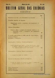 Boletim Geral das Colónias – Ano 17.ª – Maio de 1941 – N.º191 – Agencia Geral das Colónias – Lisboa – 1941. Desc. 160 pág. / 22,5 cm x 16 cm / Br «€12,50»
