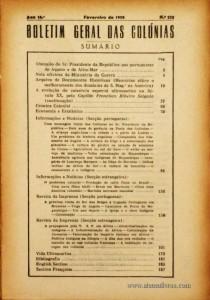 Boletim Geral das Colónias – Ano 14.ª – Fevereiro de 1938 – N.º152 – Agencia Geral das Colónias – Lisboa – 1938. Desc. 188 pág. / 22,5 cm x 16 cm / Br «€12,50»