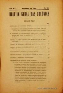 Boletim Geral das Colónias – Ano 24.ª – Novembro de 1948 – N.º281 – Agencia Geral das Colónias – Lisboa – 1948. Desc. 234 pág. / 22,5 cm x 16 cm / Br «€12,50»