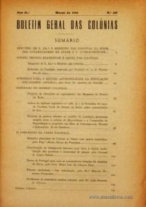 Boletim Geral das Colónias – Ano 21.ª – Março de 1945 – N.º237 – Agencia Geral das Colónias – Lisboa – 1945. Desc. 346 pág. / 22,5 cm x 16 cm / Br «€15,00»