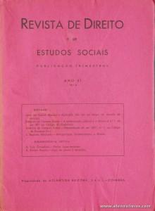 Revista de Direito e de Estudos Sociais - 1960 - Ano XI - N.º 4 - Atlântida Editora - Coimbra «€10.00»