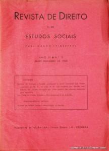 Revista de Direito e de Estudos Sociais - Julho/Dezembro de 1960 - Ano XI - N.º 3 - Atlântida Editora - Coimbra «€10.00»