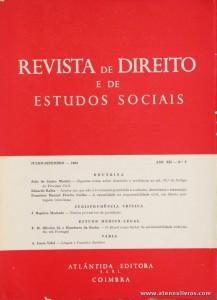 Revista de Direito e de Estudos Sociais - Julho/Setembro de 1965 - Ano XII - N.º 3 - Livraria Almedina - Coimbra «€10.00»