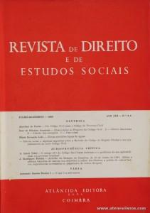 Revista de Direito e de Estudos Sociais - Julho/Dezembro de 1966 - Ano XIII - N.º 3 - 4 - Livraria Almedina - Coimbra «€10.00»