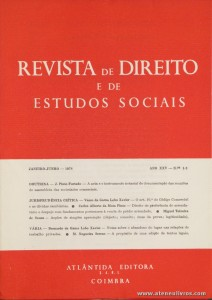 Revista de Direito e de Estudos Sociais - Janeiro/Junho de 1978 - Ano XXV - N.º 1 - 2 - Livraria Almedina - Coimbra «€10.00»