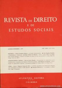 Revista de Direito e de Estudos Sociais - Janeiro/Setembro de 1977 - Ano XXIV - N.º 1 - 2 - 3 - Livraria Almedina - Coimbra «€10.00»