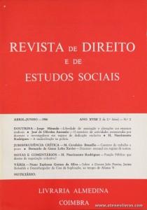Revista de Direito e de Estudos Sociais - Abril/Junho de 1986 - Ano XXVIII (I da 2.ª Série) - N.º2 - Livraria Almedina - Coimbra «€10.00»
